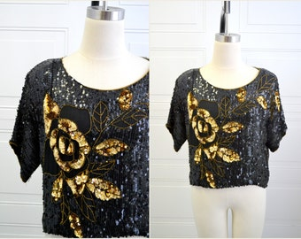 1980s Rose Sequin and Beaded Top