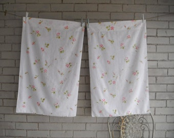 vintage pillowcases shabby chic floral pillowcases pink roses muslin pillowcases cottage decor bedroom linens standard pillowcases white