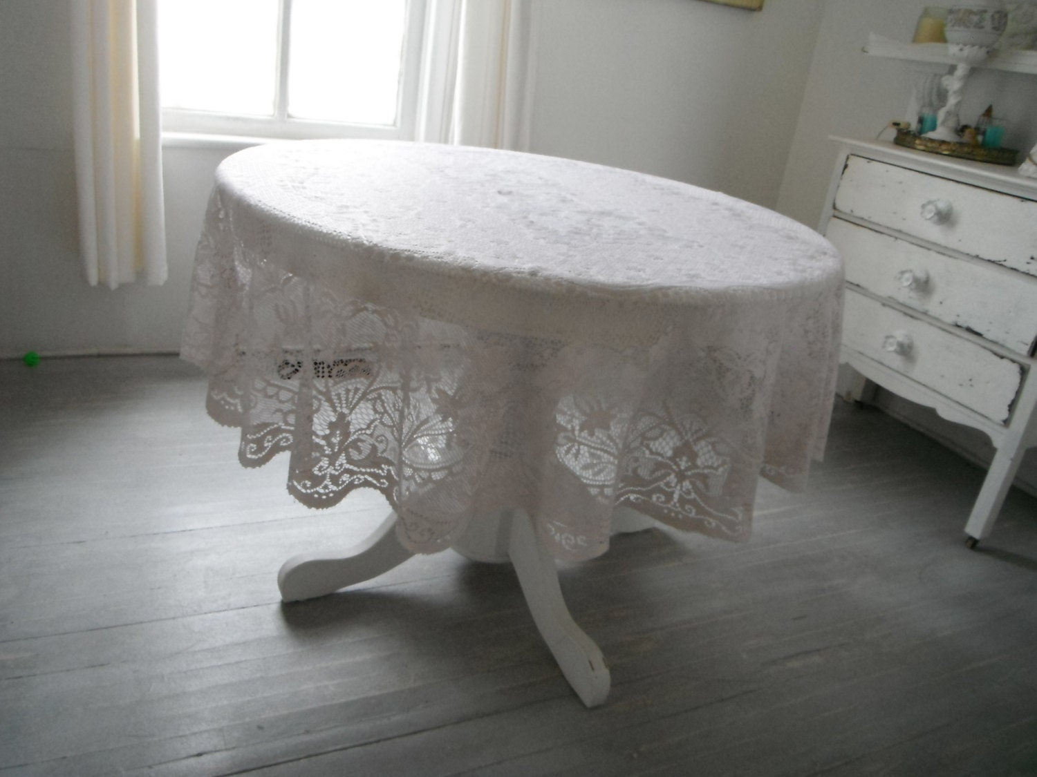 Shabby Chic Lace Tablecloth Round Tablecloth Hand By