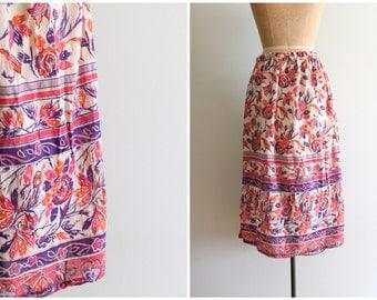 authentic 1970s hippie skirt - 60s cotton gauze skirt / 70s bohemian - floral block print skirt / festival gauze skirt - gypsy skirt
