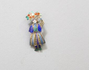enamel & brass filigree figural brooch - vintage 40s pin / Gypsy in corset carrying fruit - cobalt blue enamel / vintage bohemian jewelry