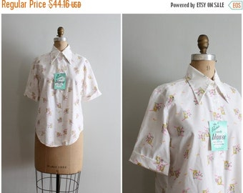 20% SALE vintage 70s novelty print blouse - neon pink pastel floral top / Windows & Flowers - wide pointy collar shirt / Sweet Kawaii - new