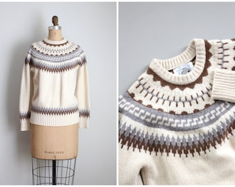 1950s fair isle yolk neck cashmere sweater - ivory cashmere pullover / ladies 50s vintage sweater - gray & brown / 50s collegiate