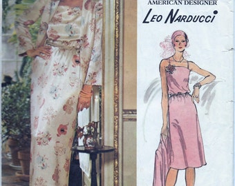 Vogue 1203 Vintage 1970s Designer Leo Narducci Evening Dress And Jacket Sewing Pattern Knee or Maxi Floor Length Size 10