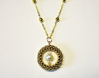 Gold Freshwater Pearl Swarovski Crystal Beaded Circle Pendant Necklace