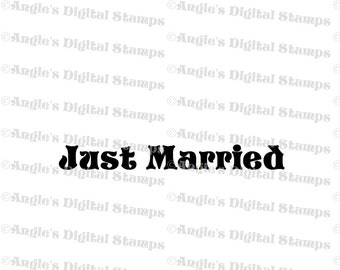 Just Married Quote Digital Stamp Image