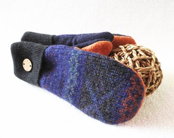 Womens Mittens Purple GRAPE FAIR ISLE Mittens Slouchy Beanie Fleece Lined Sweater Wool Mittens and Hat Gift Set Stocking Stuffer WormeWoole