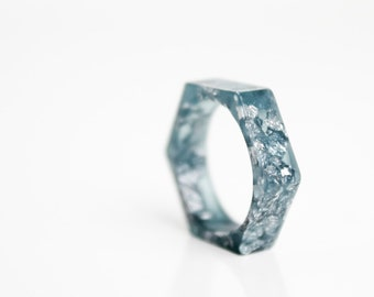 minimalist stacking ring size 6 hexagonal eco resin denim blue with silver leaf flakes