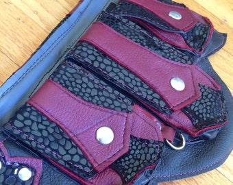 Ready to Ship XS REGAL Recycled Leather Regal Pocket Belt Burning Man Apocalyptic Utility Festival Mad Max Black cherry red deer