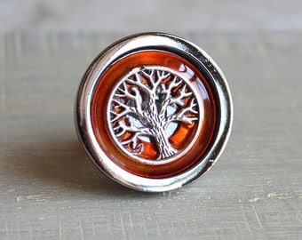 orange drawer pull, cabinet knob, cabinet pull, tree of life, tree knob, dresser knob, decorative knob, cabinet hardware, kitchen knob