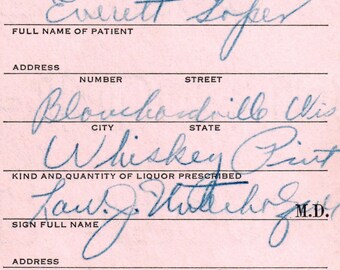 Vintage Everett Soper 9/4 1932 Prohibition Whiskey Pint Prescription Doctor Stub Blanchardville WI Wisconsin Pharmacy Speakeasy Bar