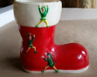 Vintage Red & White Hard Plastic Christmas Boot with Elves