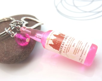 Wine Bottle Keychain - Wine charm keyring -pink champagne bottle bag charm - hot pink  silver love - kitch gift for wine lover