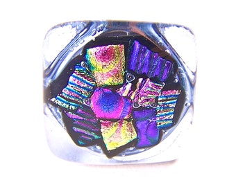 """Dichroic Knob - Cabinet or Drawer Pull Handle - 1"""" / 25mm - Pink Magenta Fuchsia Purple Lavender Violet Fused Glass"""
