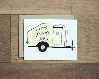 Happy Father's day card, camping dad card dad and son camper retro camper caping trailer