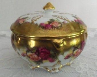 Vintage Royal Chelsea Covered Candy Dish   Golden Rose