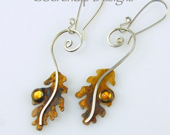Patina Silver Oak Leaf Earrings with Citrine Cabochons, Sterling Silver Spiral Oak Leaves, Golden Citrine Leaf Earrings