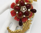 Stanley Hagler NYC Vintage Brooch Red and Russian Gold