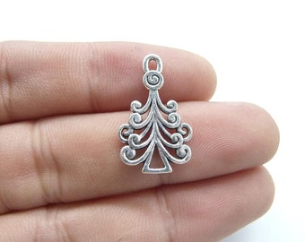 20pcs 13x22mm Antique Silver Christmas Tree Charm Pendant  c8234