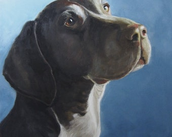 Large original oil painting Dog Portrait by Christine Cousineau