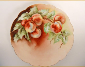 "Antique Rosenthal Porcelain Display Plate Hand Painted Fruit/ Peaches - 8"" ~ June SALE"