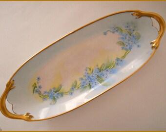 Antique Limoges Porcelain Oblong TRAY Hand Painted Blue Forget-Me-Nots -Signed c.1900 -  June SALE