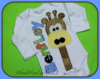 Iron on Long Neck Giraffe Fabric Applique with Initial and Personalized Name Baby Shower Coming Home DIY