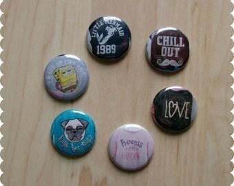 Teen Girl Room Decor, Cute Sayings Pin Back Buttons, Magnets, or Thumb Tacks - Set of 6, Funny Sayings, Sassy Flair