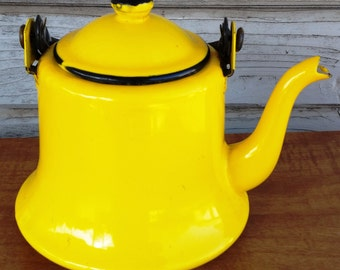 Yellow Teapot Enamel Mid Century Modern Japan Kitchen Supplies Tea Pot Retro Decor