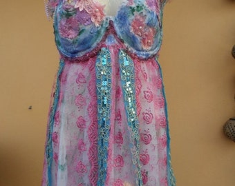20%OFF vintage inspired bustier top with shabby details and roses...uk 14 D ..DD