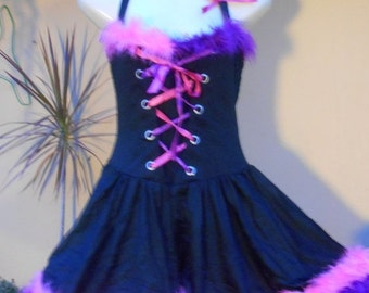 "20%OFF COS PLAY funky laed up front wenchy style dress with flouro pink.purple boa trim..small to 36"" bust.."