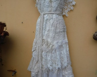 """20%OFF vintage inspired shabby bohemian gypsy dress ..smaller to 36"""" bust..."""