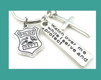 Police Graduation, Police Gifts, Police Wife,  Police Officer Gift , Police Officer Keychain,  Police Badge, Charm Keychain