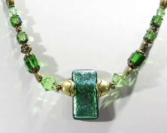 Necklace - Swarovski Crystals- green - blue green - goldtone metal and findings