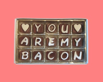 You Are My Bacon Valentines Gift for Her Girlfriend Gift Funny Romantic Valentines Gift for Wife Romantic Cubic Chocolate Message Cute Idea