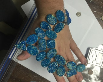 Huge Blue Titanium Druzy Necklace