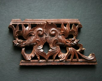 Vintage Asian Dragon Woodcarving Carved Wood Plaque Architectural Salvage Wooden Folk Rustic Art Deco Home Decor