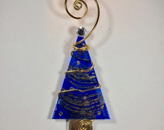 Gold Foil Swirl and Cobalt Blue Christmas Tree Ornament