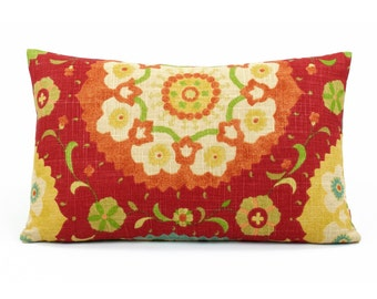 Mexican Suzani Lumbar Decorative Pillow Cover 12x20 Richloom, Reversible, Flips to Red or Ivory Background, Rectangular, Fiesta Infusion