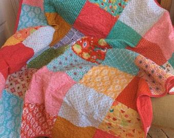 Jane Austen Quilt Lap Throw Patchwork Ardently Austen Ready to Ship 50x50