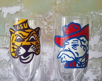House Divided College Wedding Glasses lsu vs ol miss