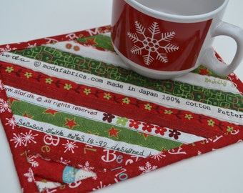 Red Green Mug Rug, Christmas Coaster, Cotton Placemat, Holiday Decor, Stocking Stuffer, Gift under 10