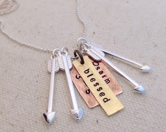 Blessed Mama Psalm 127:3-5 Mixed Metal Silver Arrow Necklace