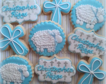 Baptism cookies - baby cookies - first communion - 1 dozen cookies - baby boy - baby girl - Decorated Cookie Favors