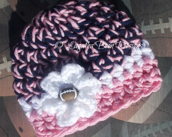 Dallas Cowboys inspired baby hat in pink - sports photo prop - sports baby hat - chunky baby hat - photography prop - baby shower gift