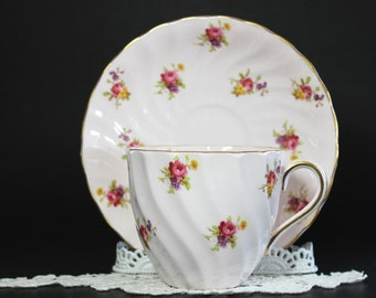 Pink Vintage Tea Cup, Tuscan Cup and Saucer, English Bone China, Roses on Pink Chintz 13198