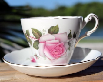 Teacup, Regency Bone China, Pink Cabbage Roses, Tea Cup and Saucer, Vintage Cups 13592