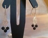 Sterling Silver Filigree and Black Lava Beaded Earrings