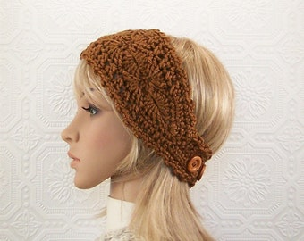 Crochet headband, headwrap, ear warmer - toast brown - women's accessories Fall Winter Style handmade Sandy Coastal Designs - ready to ship