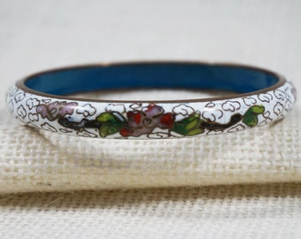 White Asian Cloisonne Bangle with Clouds and Flowers